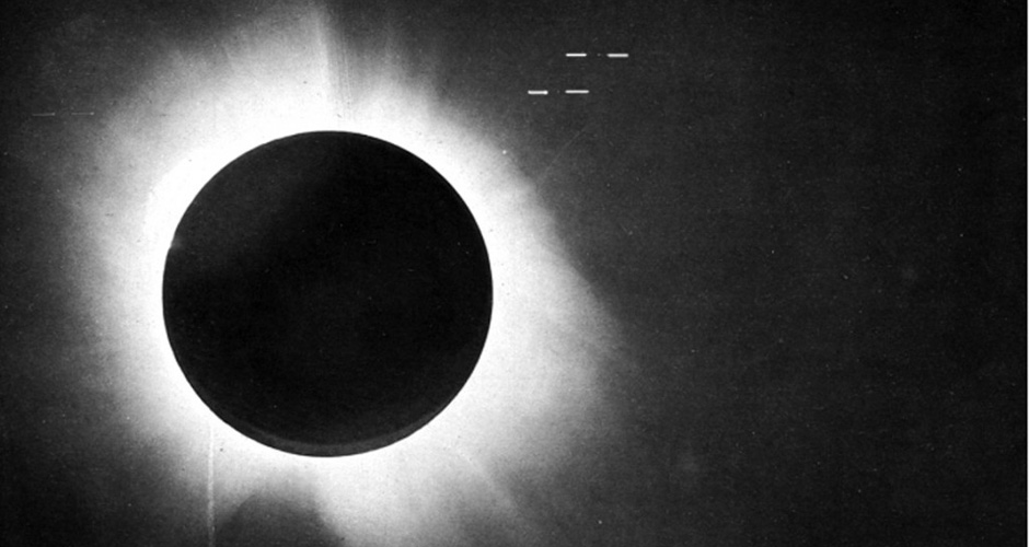One of Eddington's photographs of the total solar eclipse of 29 May 1919, presented in his 1920 paper announcing its success, confirming Einstein's theory that light
