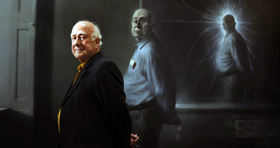 Peter Higgs with his portrait (credit: Callum Bennetts/Maverick Photo Agency)- Painting by Ken Currie