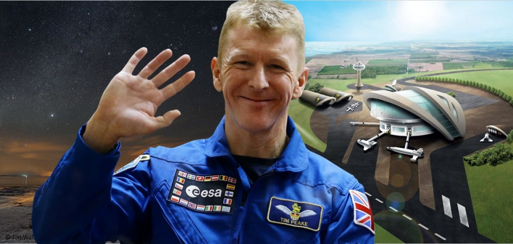 British ESA Astronaut, Major Tim Peake, with Highlands Sky and plans for a Spaceport in Prestwick [Collage: Jonathan Watson, Photography: ESA, Prestwick Spaceport]