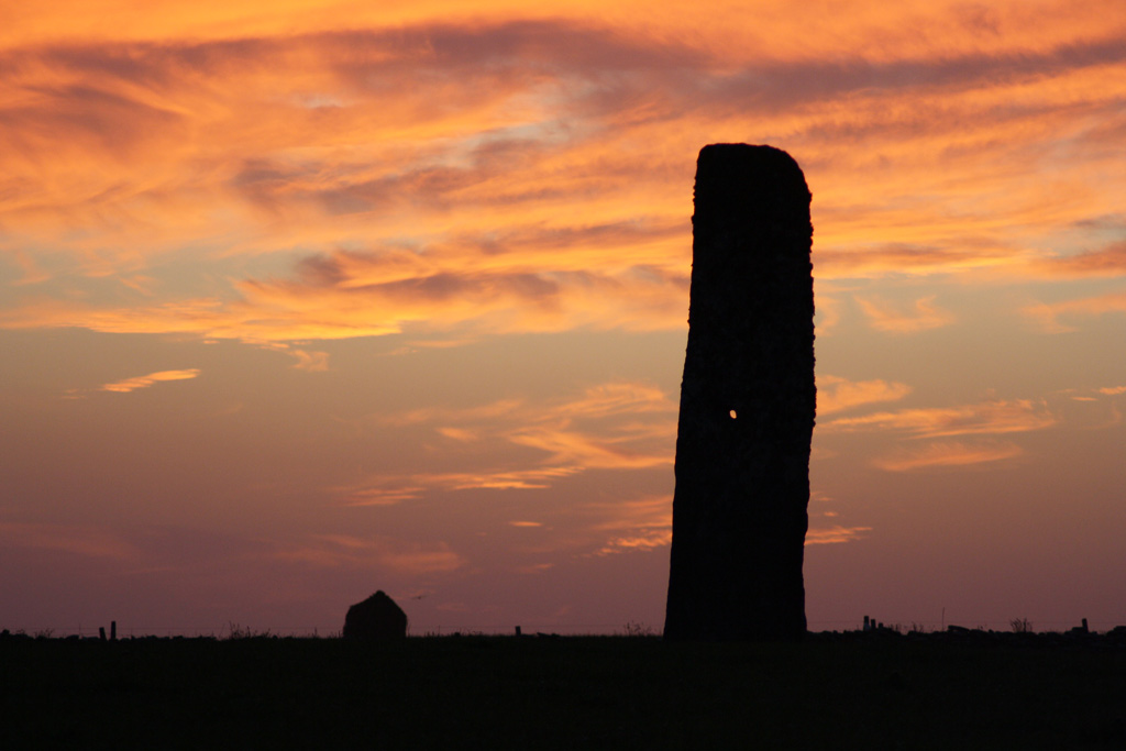 Marion Muir's North Ronaldsy Standing Stone in the sunset at 11pm just before longest day