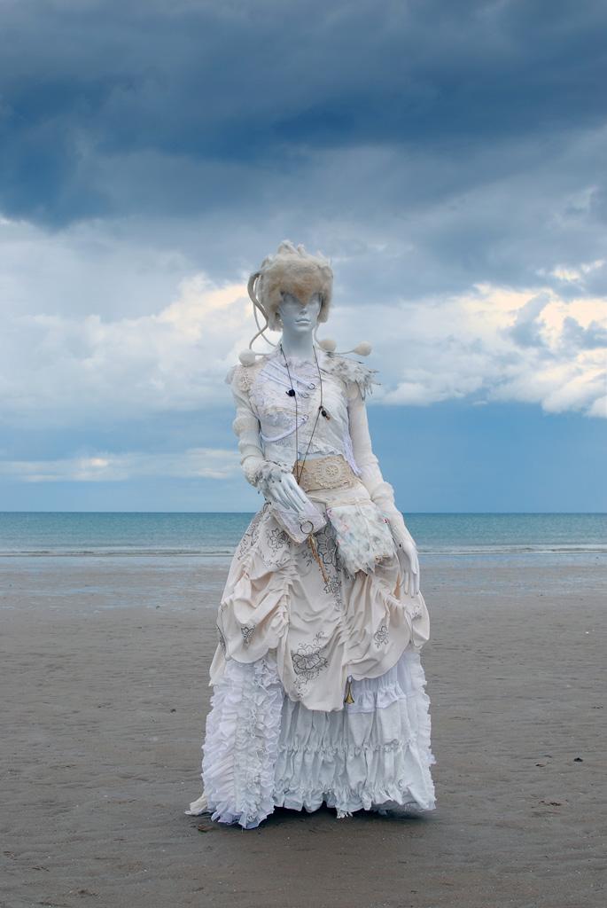 Nehalennia upcycled outfit by Heidi Soos, Headpiece by Caroline Bury