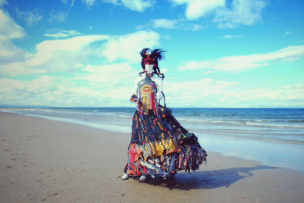 Nyx upcycled outfit by Selena S Kuzman, Headpiece by Caroline Bury